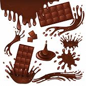 foto of sweet food  - Sweets dessert food milk chocolate bars and splash drips background vector illustration - JPG