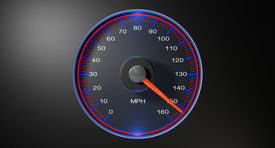 image of mph  - A regular speedometer with glowing red edges and a red needle pointing towards a high speed on an isolated black background - JPG