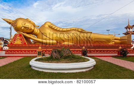 Gold reclining Buddha in Wat Si Saket in Vientiane Laos
