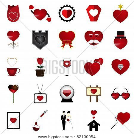 Vector Love Heart Illustration Set