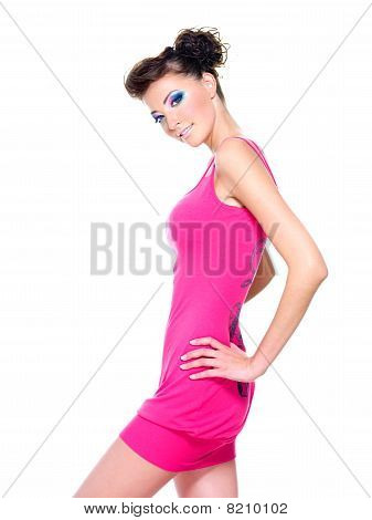 Beautiful Woman Posing In Pink Dress