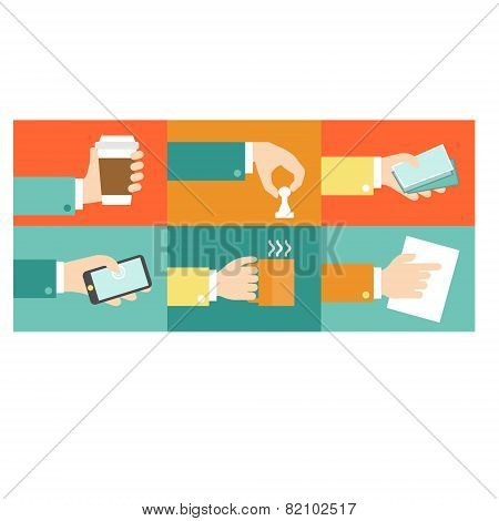 Vector set of hands, purchase payment credit flat illustration