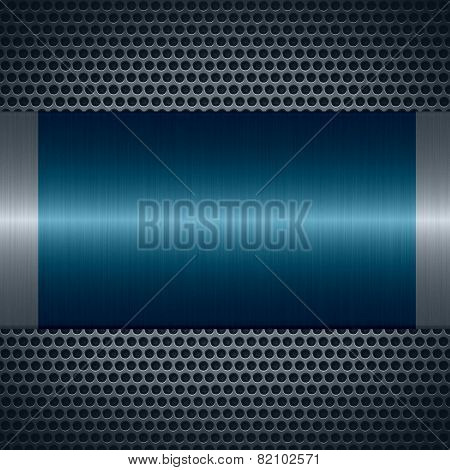 Blue metallic texture with holes metal plate background