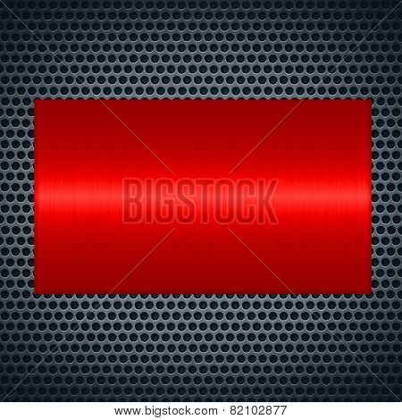 Red metallic texture with holes metal plate background