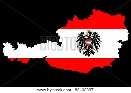 Austrian Flag And Map