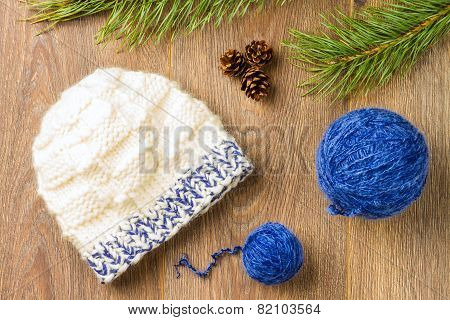 Yarn And Knitting Cap