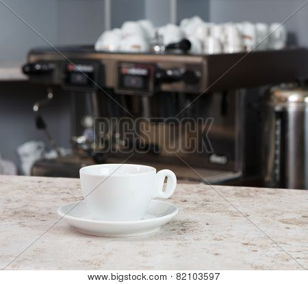 Empty Coffee Cup On The Bar