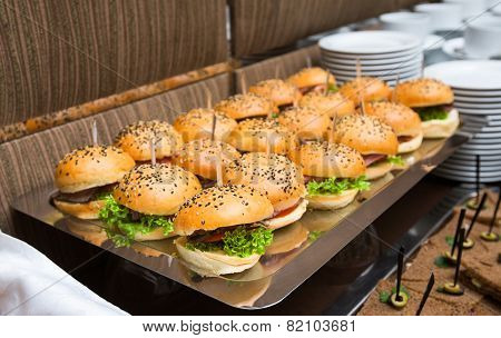 Catering - Served Table With Hamburgers Snack
