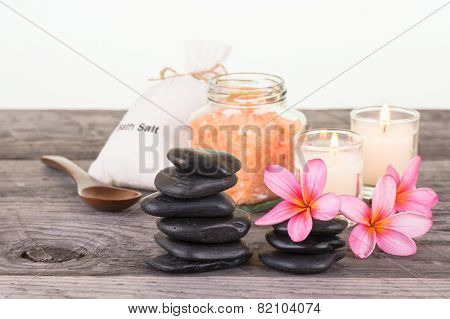 Spa Setting With Black Stones And Bath Salt