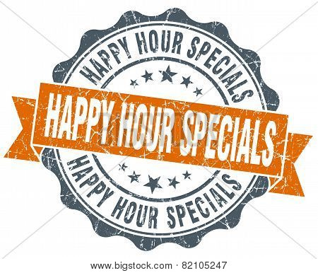 Happy Hour Specials Vintage Orange Seal Isolated On White