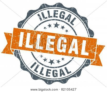 Illegal Vintage Orange Seal Isolated On White