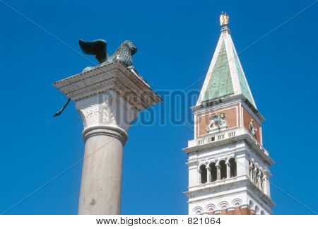 Saint Mark's bell tower and Saint Mark's Lion