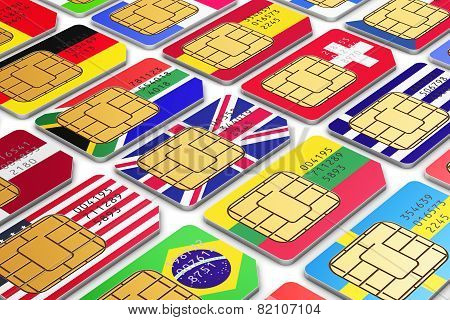International SIM cards with flags