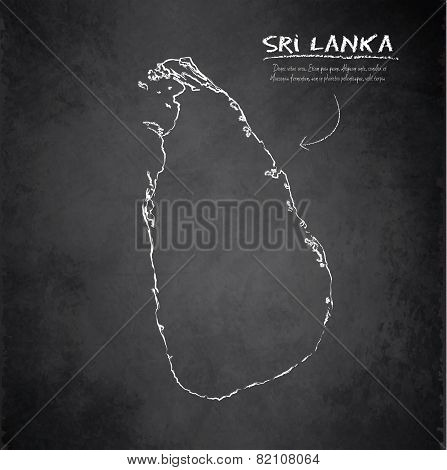 Sri Lanka Map Blackboard Chalkboard