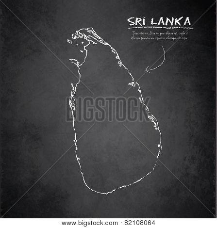 Sri Lanka Map Blackboard Chalkboard