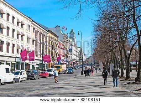 Oslo. Norway. Karl Johans gate Street