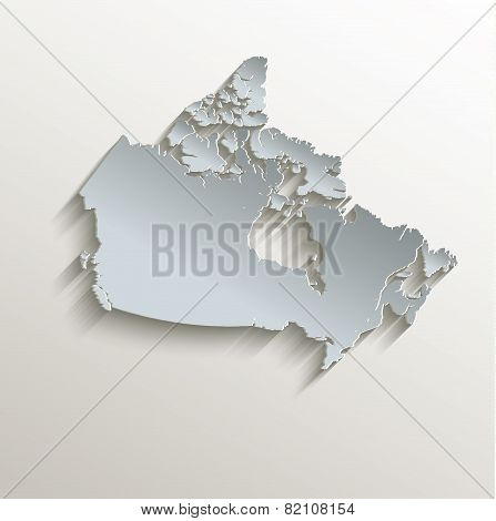 Canada map white blue card paper 3D raster