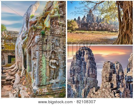 Ancient tree roots and stone statues, Angkor, collage