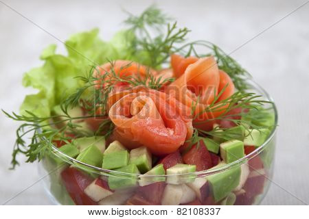 Avocado Salad With Salmon.