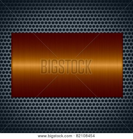 Bronze metallic texture with holes metal plate background