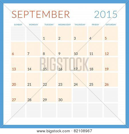 Calendar 2015 Vector Flat Design Template. September. Week Starts Sunday