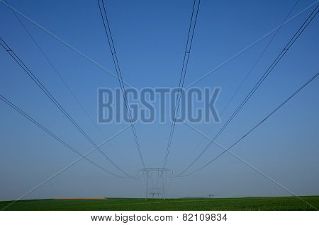 France, An Electric Line In Val D Oise