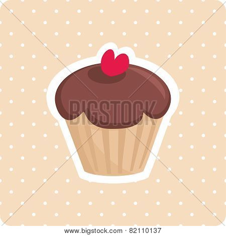 Vector cupcake with red cherry and polka dots background