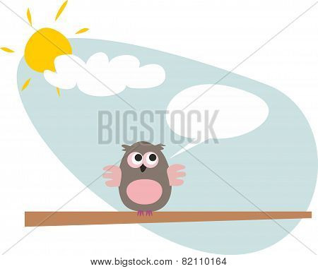 Vector owl on the branch talking, giving instructions. Sunny day with clouds illustration