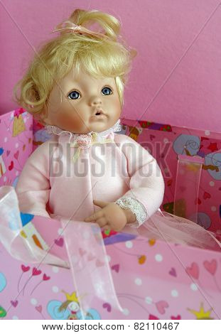 Antique Blond Porcelain Doll Portrait