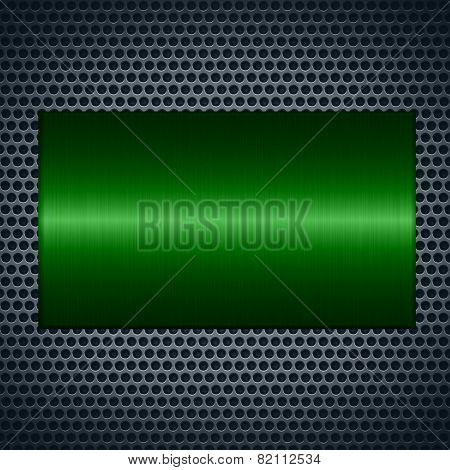 Green metallic texture with holes metal plate background