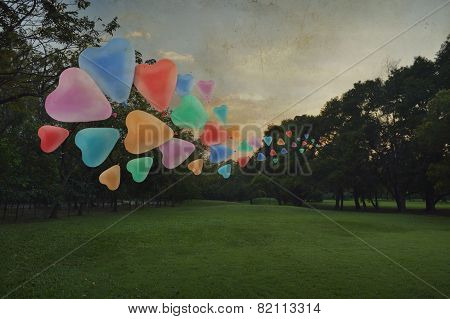 Colorful Heart Love Balloon Float On Air At Park