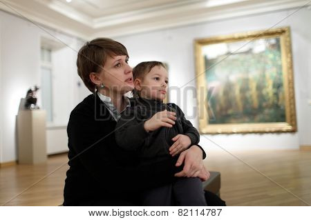 Mother With Son In The Gallery