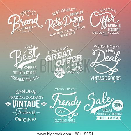 White Fashion Labels on Abstract Background