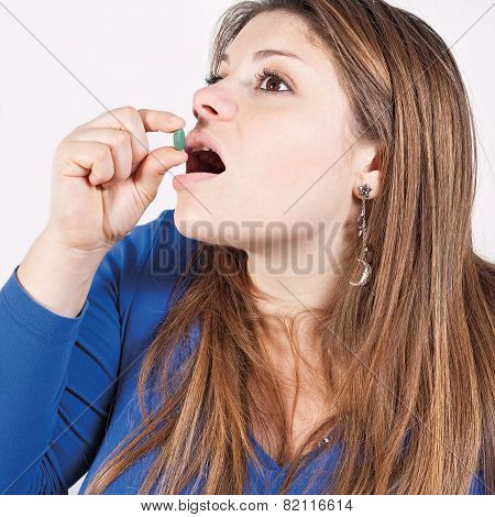 Girl And Disgusting Medicine