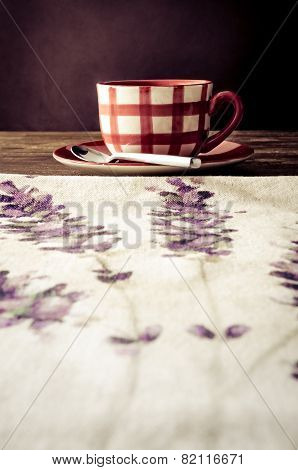 Coffee Cup Laid On Wooden Vintage Table