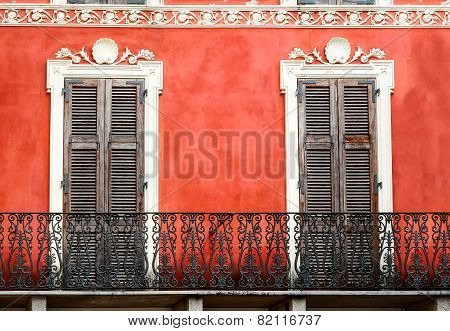 Colorful Italian Balcony With Doors In Vintage Style