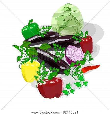 eggplants cabbage pepper onions parsley