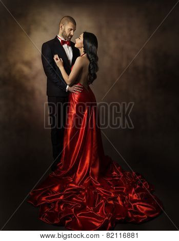 Couple In Love, Lovers Woman And Man, Glamour Classic Suit And Dress With Long Tail, Fashion Beauty