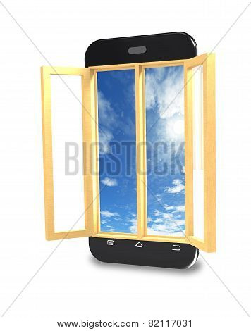 Mobile Phone With The Window Open.