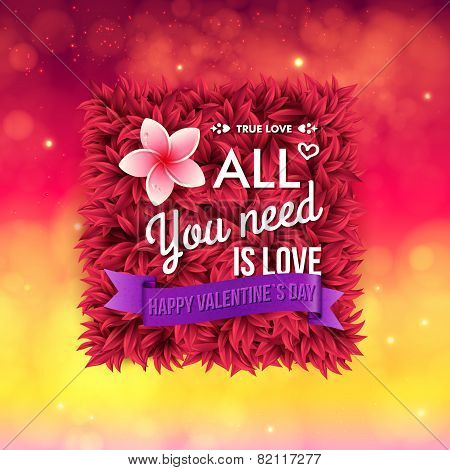 Colorful All You Need Is Love Valentines card