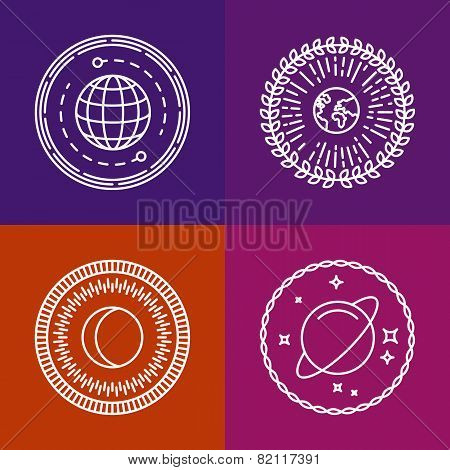 Vector Cosmic Signs And Line Icons
