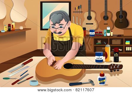 Guitar Maker Working In His Shop