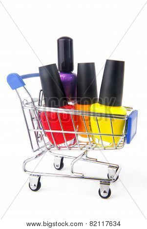 fingernail enamel in shopping trolley