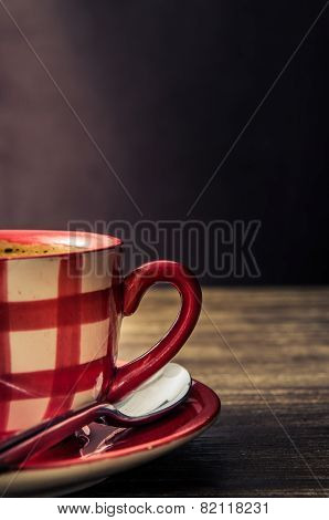 Vintage Style Detail Of Coffee Cup On Wooden Table