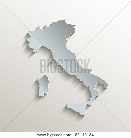 Italy map white blue card paper 3D raster