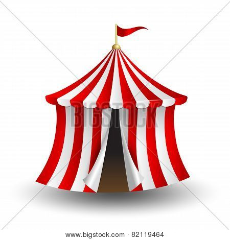 Vector illustration of circus tent with flag