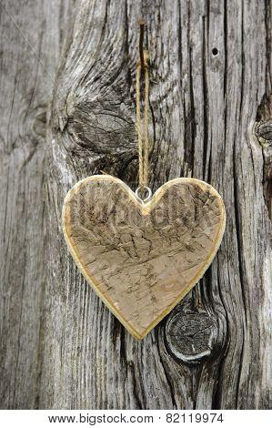 wooden heart on tree