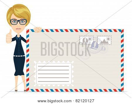 Happy female Delivering Mail Over White Background
