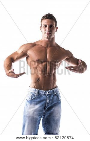 Confident Topless Muscled Man Looking at Camera