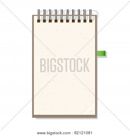 Blank Notebook With Spiral Isolated on White Background. Stock Vector Illustration